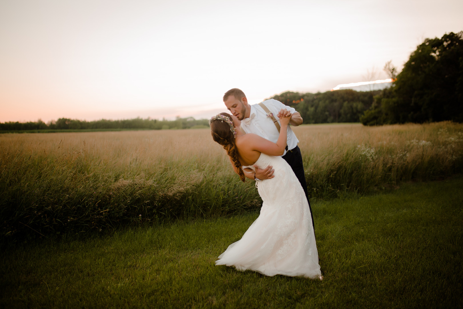 Evening wedding photos: Rustic country wedding in Minooka, IL captured by Katie Brsan Photography. Visit CHItheeWED.com for more wedding inspiration!
