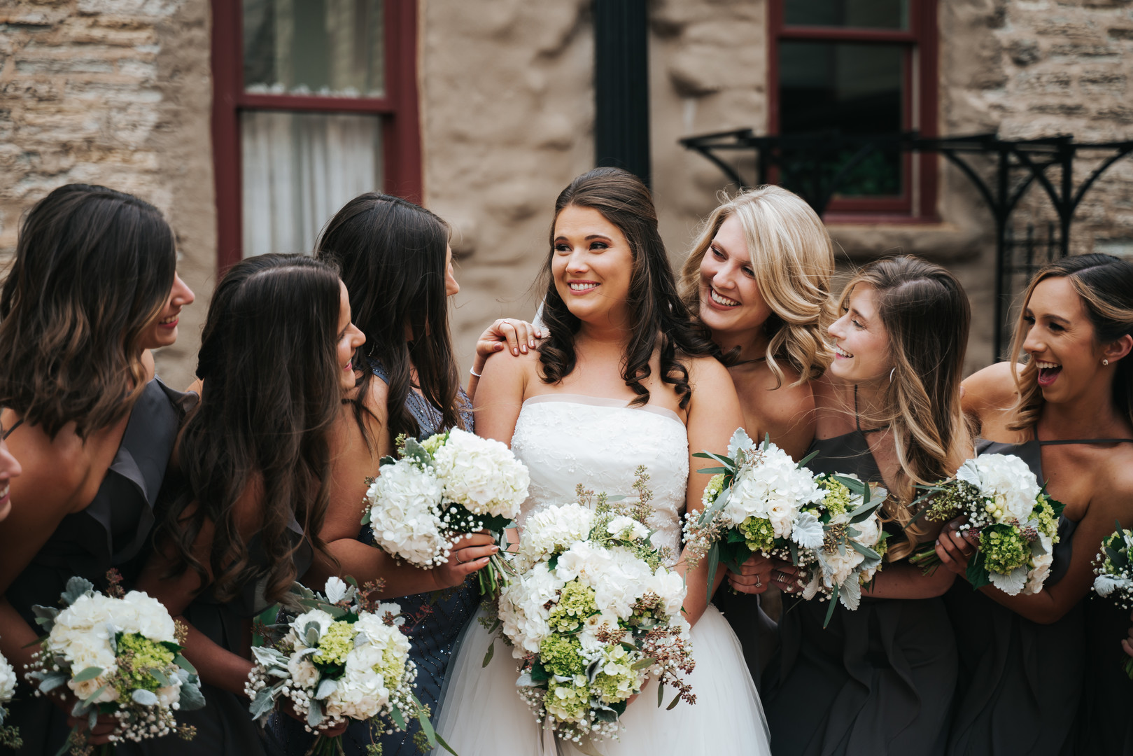 White and greenery wedding bouquets: Beautiful Illinois wedding at Riverside Receptions captured by Windy City Production. See more wedding ideas at CHItheeWED.com!
