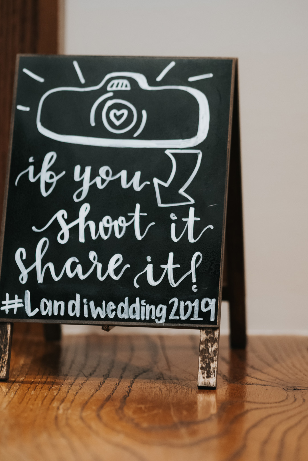 Handlettered wedding sign: Beautiful Illinois wedding at Riverside Receptions captured by Windy City Production. See more wedding ideas at CHItheeWED.com!
