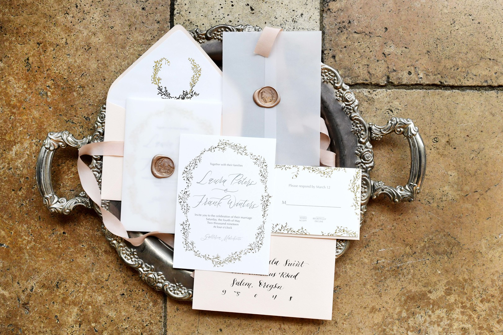 Wedding invitation suite: Romantic ivory and rose gold wedding inspiration captured by Lori Sapio. See more elegant wedding ideas at CHItheeWED.com!