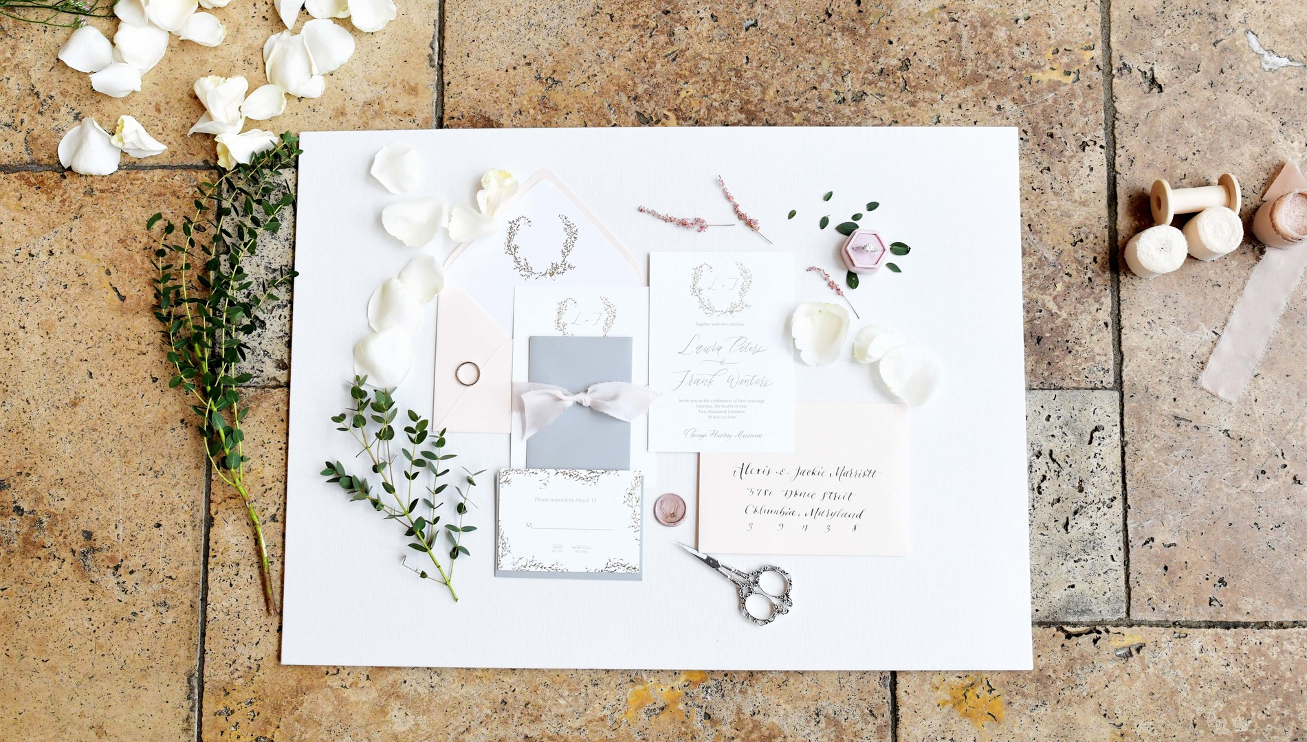 Wedding stationery: Romantic ivory and rose gold wedding inspiration captured by Lori Sapio. See more elegant wedding ideas at CHItheeWED.com!