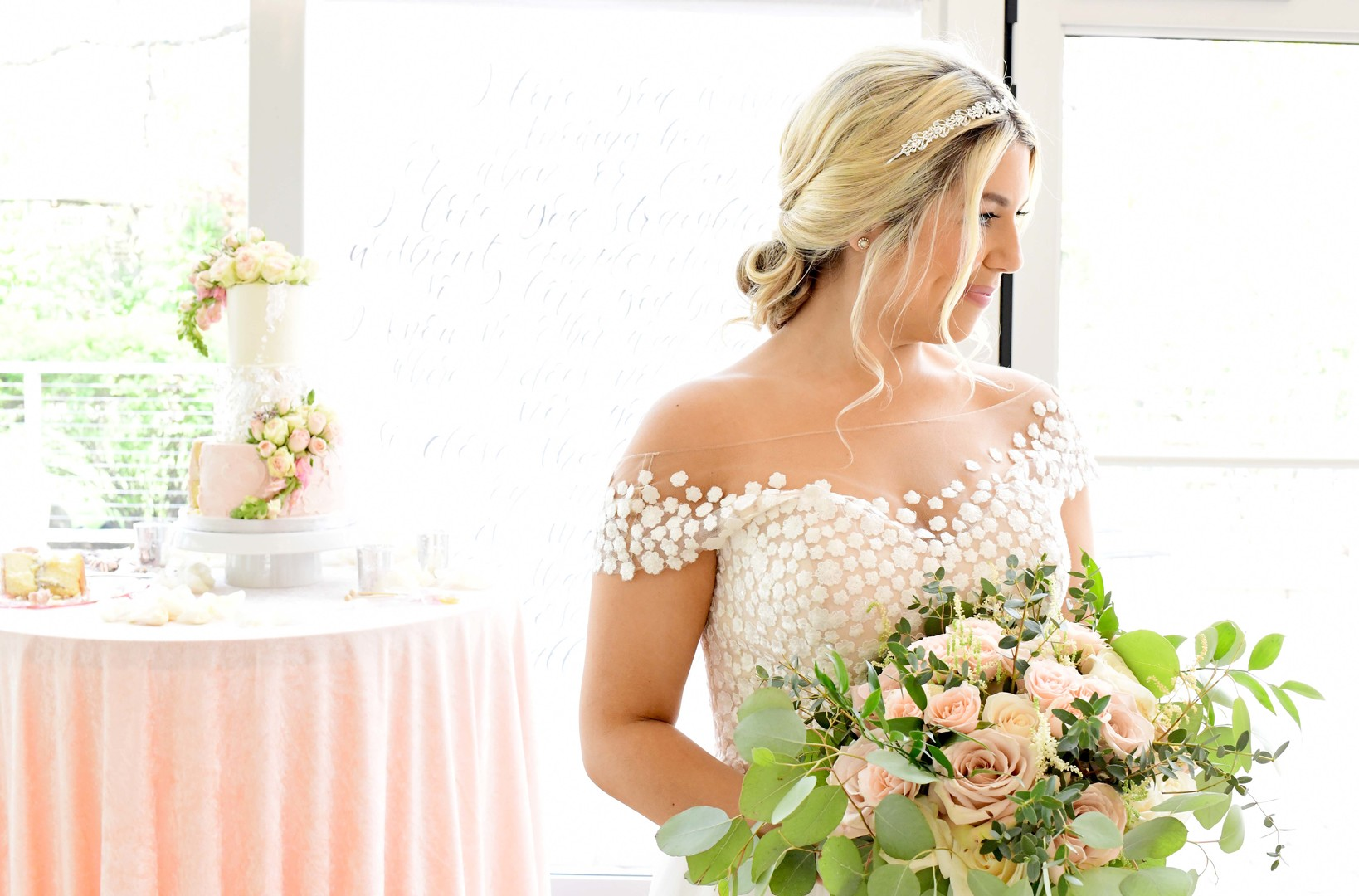Bridal portrait: Romantic ivory and rose gold wedding inspiration captured by Lori Sapio. See more elegant wedding ideas at CHItheeWED.com!