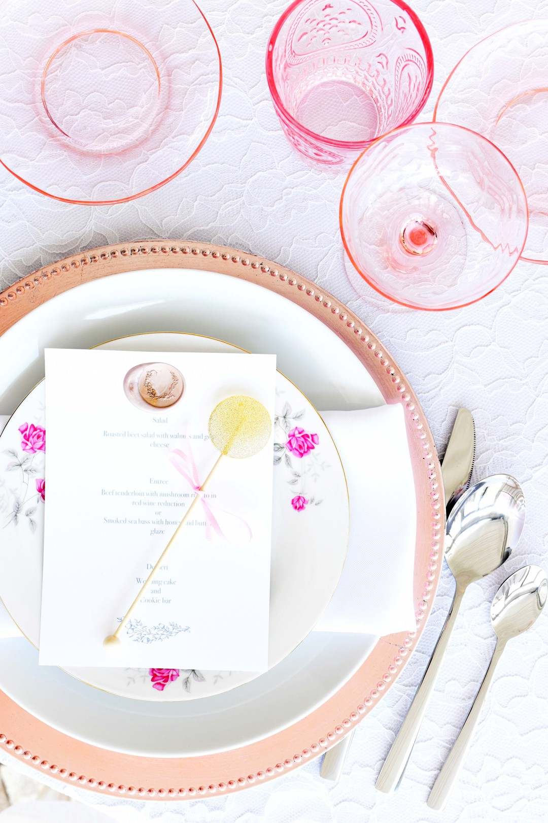 Wedding place settings: Romantic ivory and rose gold wedding inspiration captured by Lori Sapio. See more elegant wedding ideas at CHItheeWED.com!