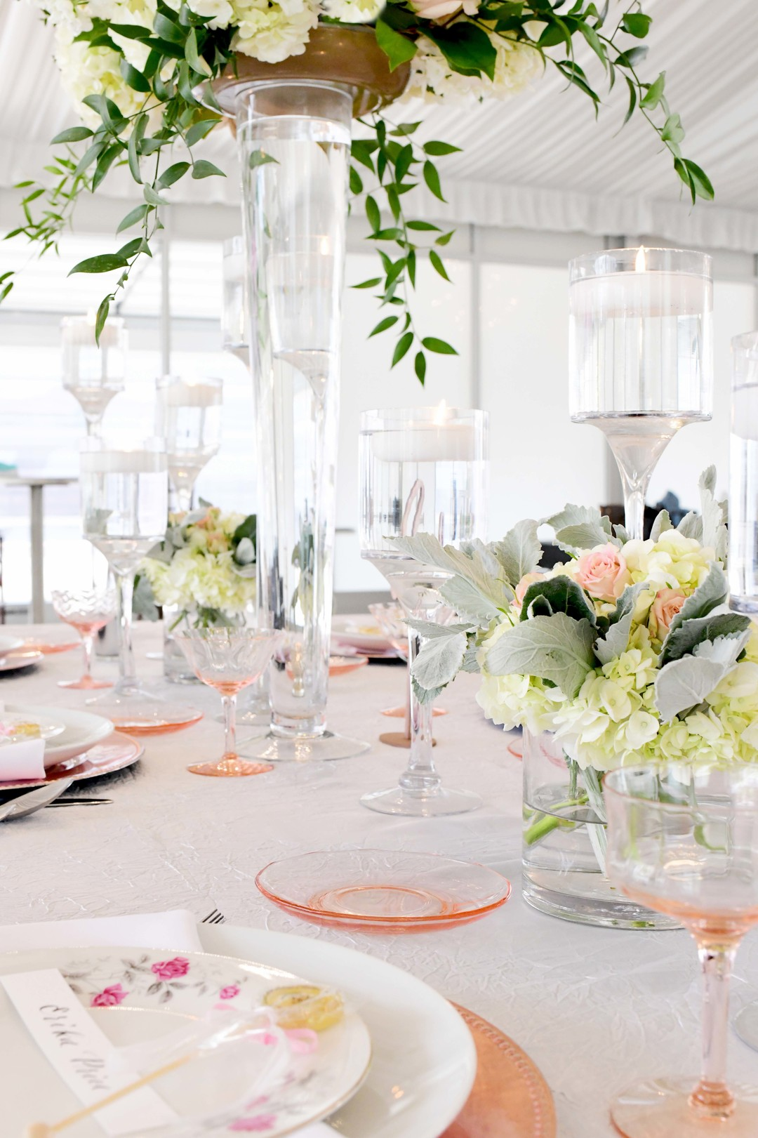 Wedding reception decor: Romantic ivory and rose gold wedding inspiration captured by Lori Sapio. See more elegant wedding ideas at CHItheeWED.com!