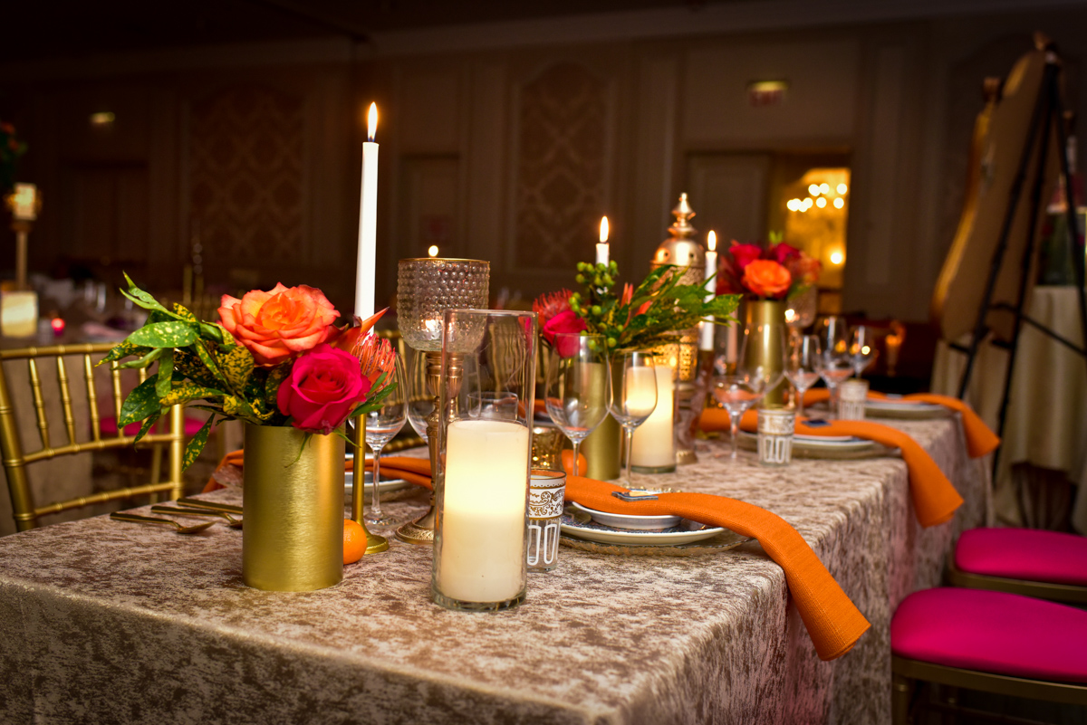"Pink and orange wedding table decor"" Casablanca wedding theme Chicago styled shoot designed by Event Shoppe Chicago and captured by Grey Matter Photography. See more creative wedding ideas at CHItheeWED.com!"