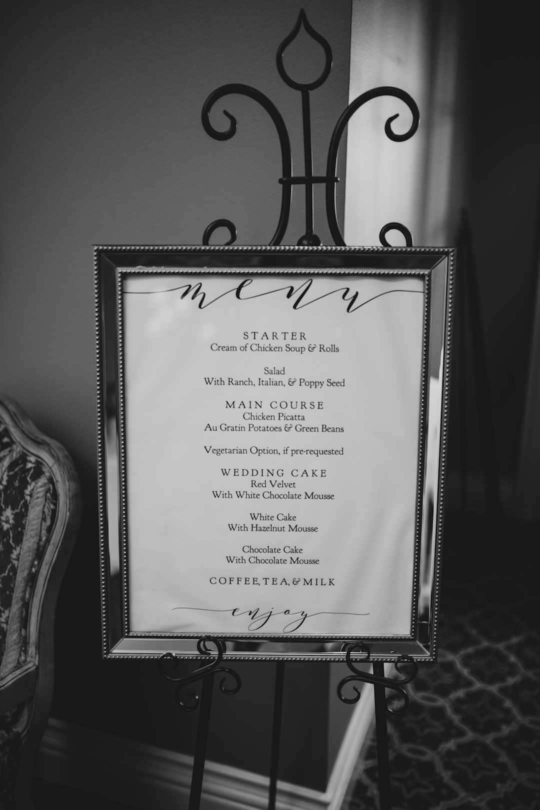 Wedding menu sign: Elegant country club wedding captured by Henington Photography. See more elegant wedding ideas at CHItheeWED.com!