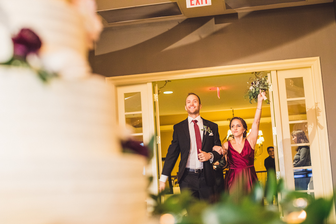 Bridal party entrance: Elegant country club wedding captured by Henington Photography. See more elegant wedding ideas at CHItheeWED.com!