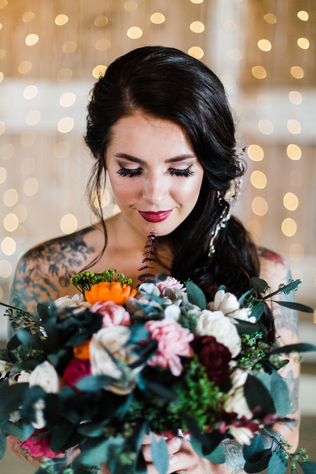 Wedding makeup: Rustic barn wedding inspiration captured by Grace Rios Photography. See more fall wedding ideas at CHItheeWED.com!