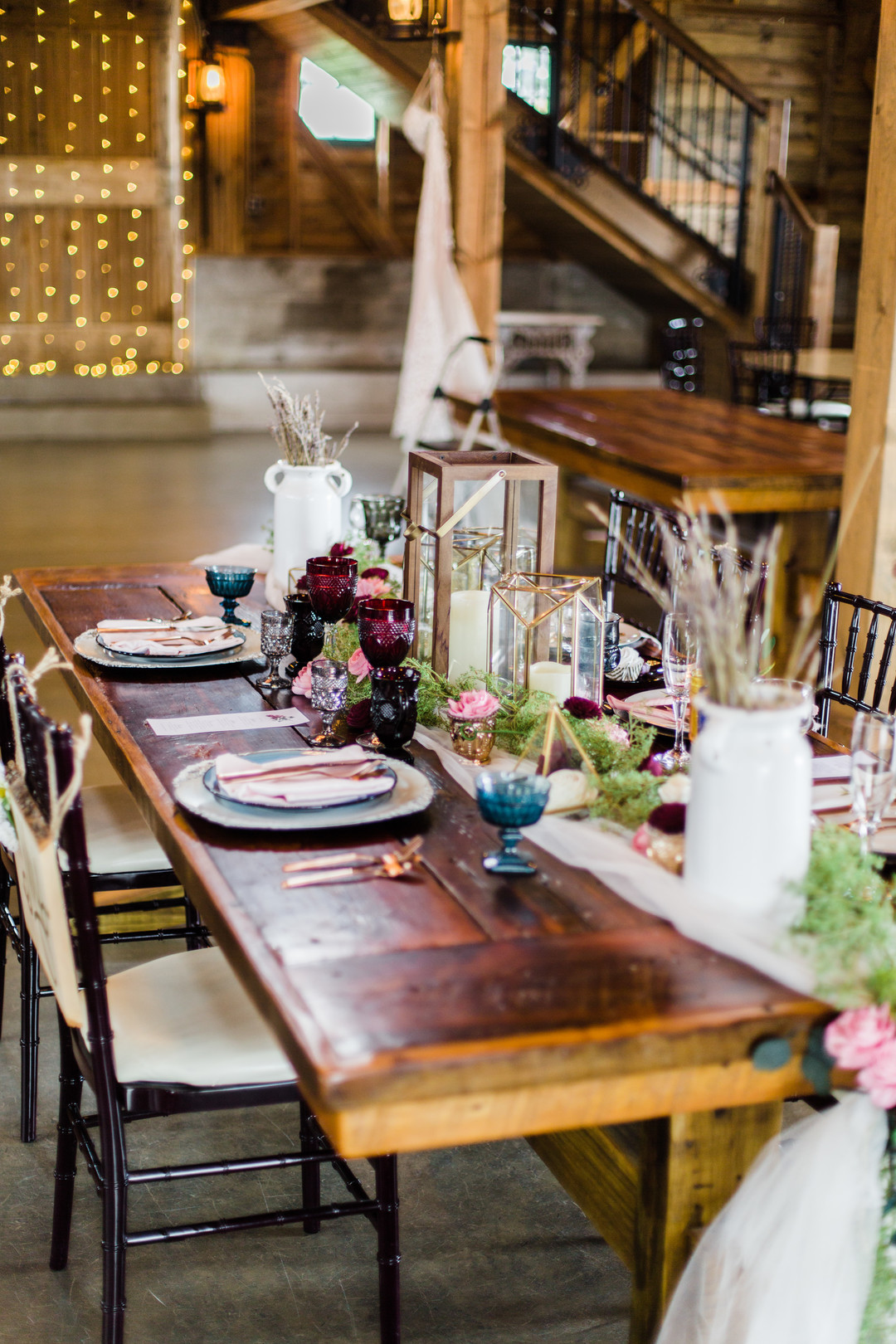 Rustic wedding centerpieces: Rustic barn wedding inspiration captured by Grace Rios Photography. See more fall wedding ideas at CHItheeWED.com!