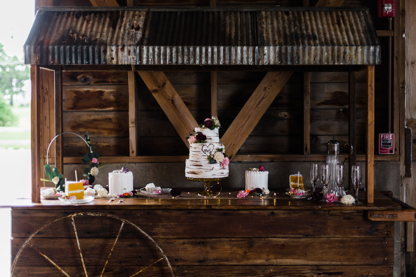 Barn wedding dessert table inspiration: Rustic barn wedding inspiration captured by Grace Rios Photography. See more fall wedding ideas at CHItheeWED.com!