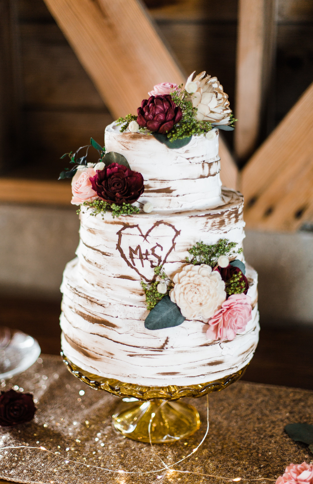Semi-naked wedding cake design: Rustic barn wedding inspiration captured by Grace Rios Photography. See more fall wedding ideas at CHItheeWED.com!