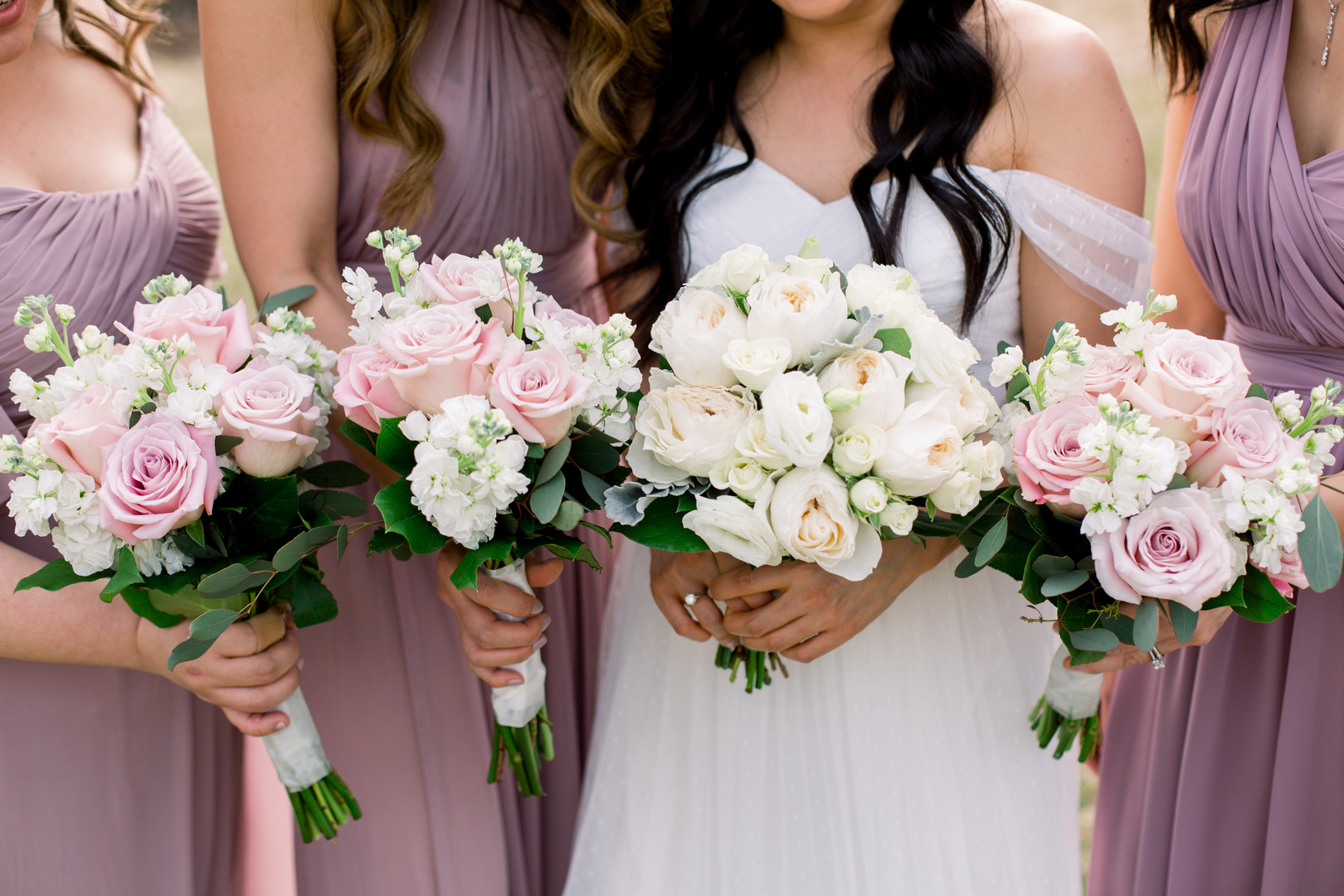 Pink and white wedding bouquets: Spring wedding inspiration captured by Nicole Morisco Photography. Find more spring wedding ideas at CHItheeWED.com!