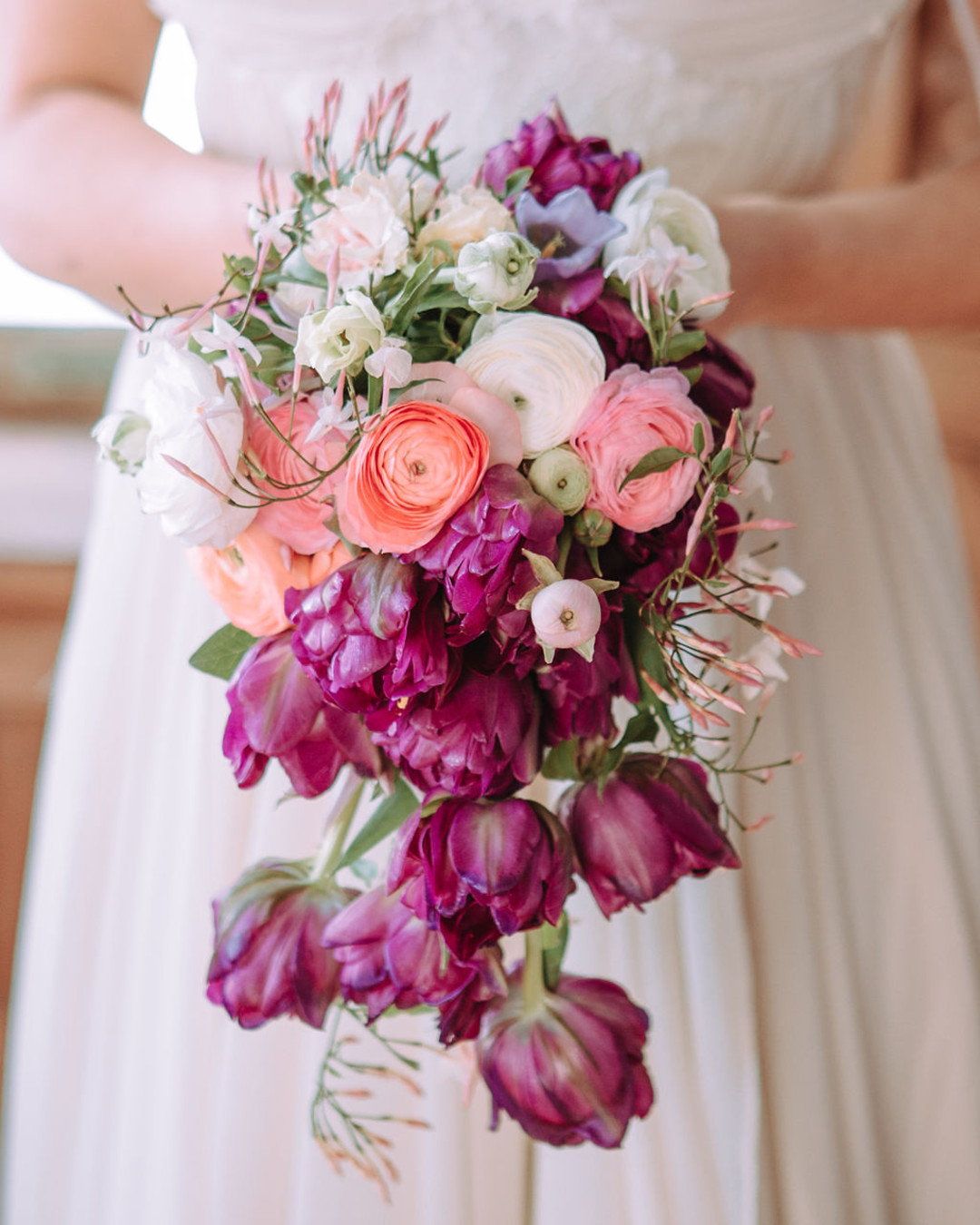 Purple cascading wedding bouquet: Bohemian wedding inspiration captured by Truly Sublime Photography. See more boho wedding ideas on CHItheeWED.com!