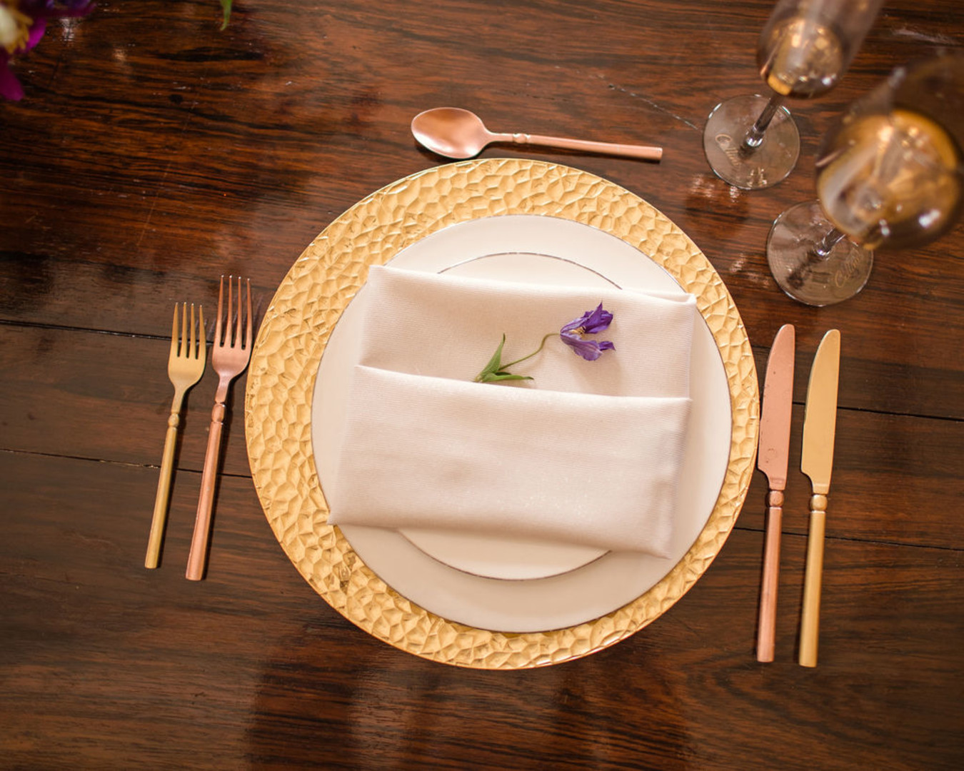 Gold wedding place settings: Bohemian wedding inspiration captured by Truly Sublime Photography. See more boho wedding ideas on CHItheeWED.com!