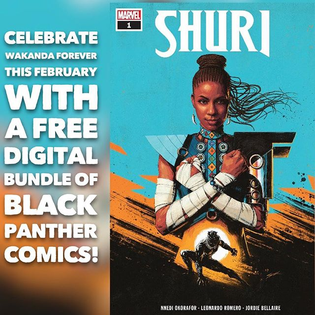 Long Live the King! This February, Marvel is celebrating Wakanda Forever and the reign of King T'Challa by offering a FREE digital bundle of the following five Black Panther comics for a limited time. Relive some of the most iconic and thrilling BLACK PANTHER stories from Marvel's most acclaimed creators, including Ta-Nehisi Coates, Nnedi Okorafor, Roxane Gay, Yona Harvey, Reginald Hudlin, John Romita Jr., and more! ⠀⠀⠀⠀⠀⠀⠀⠀⠀ Use redeem code FOREVER at www.marvel.com/redeem to get a FREE digital bundle of the above stories through 2/10, 11:59 EST! Celebrate Wakanda Forever all month long! ⠀⠀⠀⠀⠀⠀⠀⠀⠀ #marvel #marvelcomics #blackpanther #wakandaforever #shuri #kingtchalla  #avengers #oscars #academyawards #free #february #love #geeks #nerds #celebrate
