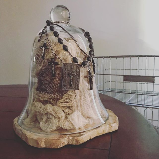 Cloister Cloche. The sins of the fathers. . #cloche #glassdome #belljar #taxidermy #rosary #religion #snake #sins #secrets #petrifiedwood #home #homedecor #homedecoration #interiordesign #interiordecor #interiordesign #homeideas #house #decor #eclecticdecor #eclectichome #makersgonnamake #odetoabode