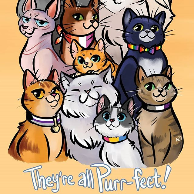 They're all #purrfect !!! 😼 . ;) Running on Filipino time for #internationalcatday, but this is on time to preview before #FlameCon! You can pick up this new, pet pride themed print (and a few more 👀) over at table Pub06!!! . #angeliraferart #angelisart #cats #catsofinstagram #omgcuteanimals #flamecon2019 #digitalillustration #corelpainter #puns #badpuns #lgbtq #lgbtpride🌈 #😼