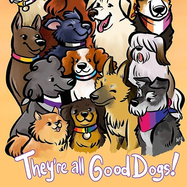 They're all #good dogs! . This is a companion piece to my #Pride cat print, made just for #FlameCon. I personally love how one of the con's mascots includes a #servicedog, so there's a small tribute to that important doggo in this group. You can pick up this print (and more) over at Pub 06! . Personally, I made these two prints as a cute way to celebrate pride and also because I find my animals are sometimes more relatable and earn a more emotional response than how I draw humans. I definitely want to rework this idea to feature a big human group in the future... . #angelieraferart #angelisart #dogs #dogsofinstagram #omgcuteanimals #flamecon2019 #digitalillustration #corelpainter #lgbtq #lgbtqpride #🐶