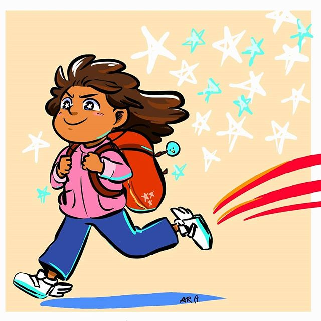 To all kiddos (big and small) on their way to their first day of school: good luck, keep that spring in your step! . ;') oops it's been awhile since I drew something explicitly #kidlitart related, but don't you worry, in between the Fire Emblems, I have some #picturebookart waiting in the wings to finish up and post. This little art is inspired by memories of being Really Excited about going back to school--at least, until Middle School started xD . #angeliraferart #angelisart #childrensbook #characterdesigns #characterexpressions #firstdayofschool #positivevibes #digitalillustration #corelpainter