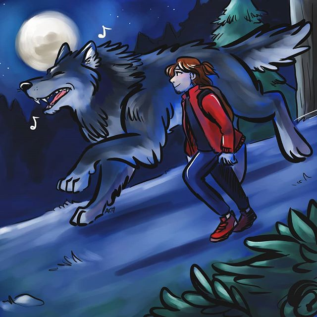 In honor of that rare #harvestmoon, I decided it'd be appropriate to draw some Werewolf Boyfriend content 🐺 . Nao and Ren on a romantic moonlit stroll.  JK, more like, Nao getting to stretch his legs and chase deer, and Ren making sure he doesn't go after anything like, the occasional lost hiker, vampire, etc. . #angeliraferart #angelisart #werewolf #🐺 #doodles #digitalart #corelpainter #originalcharacters #moonlight
