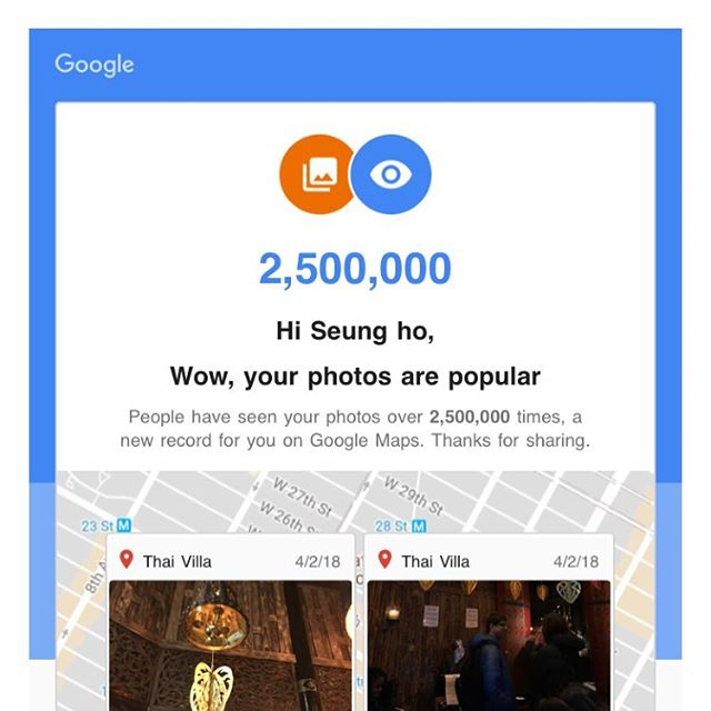 Little hobby of mine hitting a milestone of 2.5 million. #GoogleMapsLocalGuide #GoogleMaps #LocalGuides