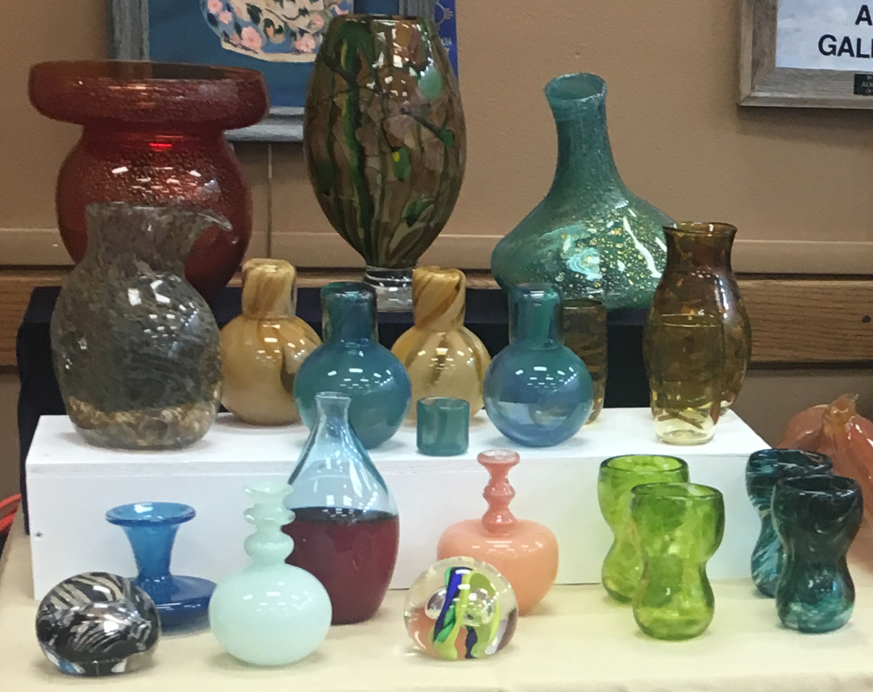 Glasses, vases, paper weights, wine decanter