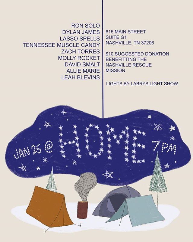 We are so happy to be kicking off this year with a good cause! @hellllyaaaa has put together this fantastic benefit show @helpingmusic to help benefit The Nashville Rescue mission. This will be a Solo Lasso Spells set* 1/25/19 $5 cover or $10 suggested donation. *Raffle prizes to be had!* poster by @klonopinup