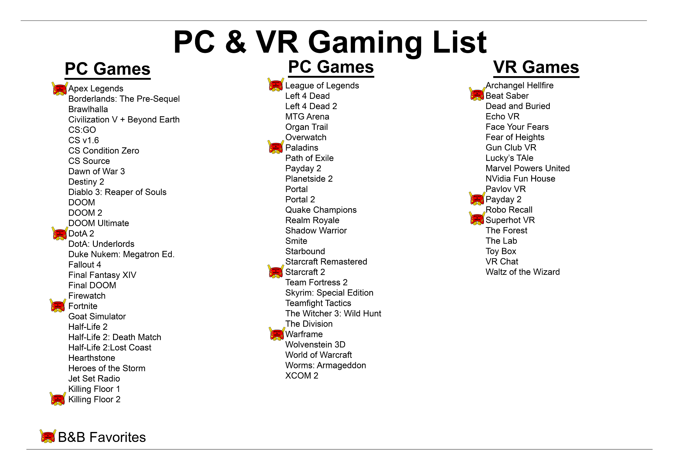 Game lists | Video and Board Gaming Venue - Restaurant and