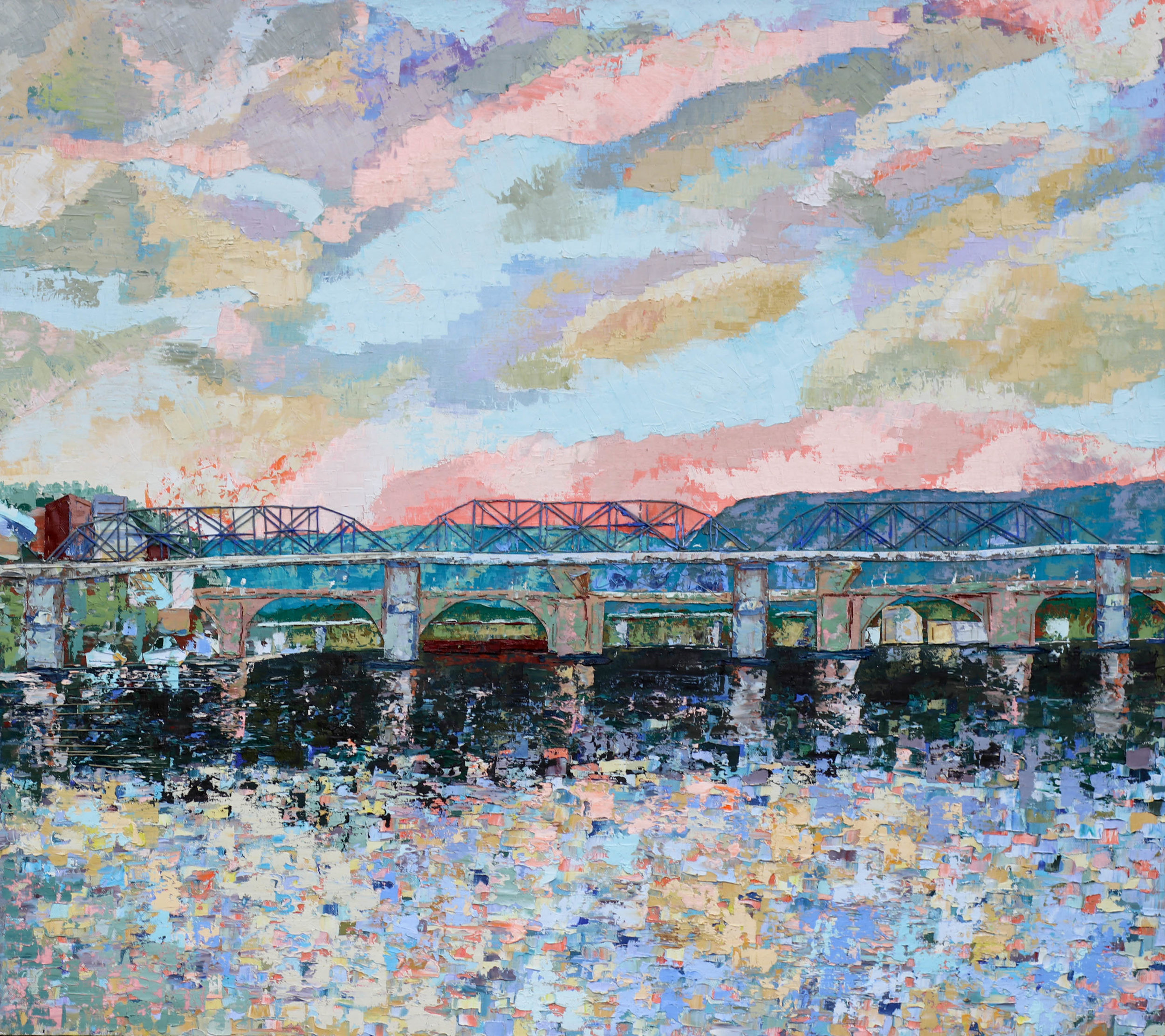"""Tennessee River (V) .  2019. oil & thread on canvas. 32x36""""."""