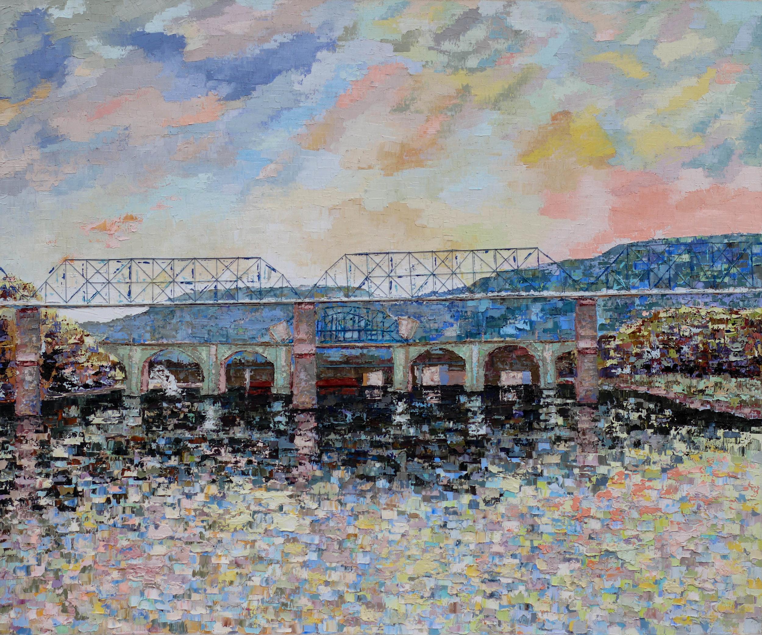 "Tennessee River (VI) .  2019. oil & thread on canvas. 30x36""."