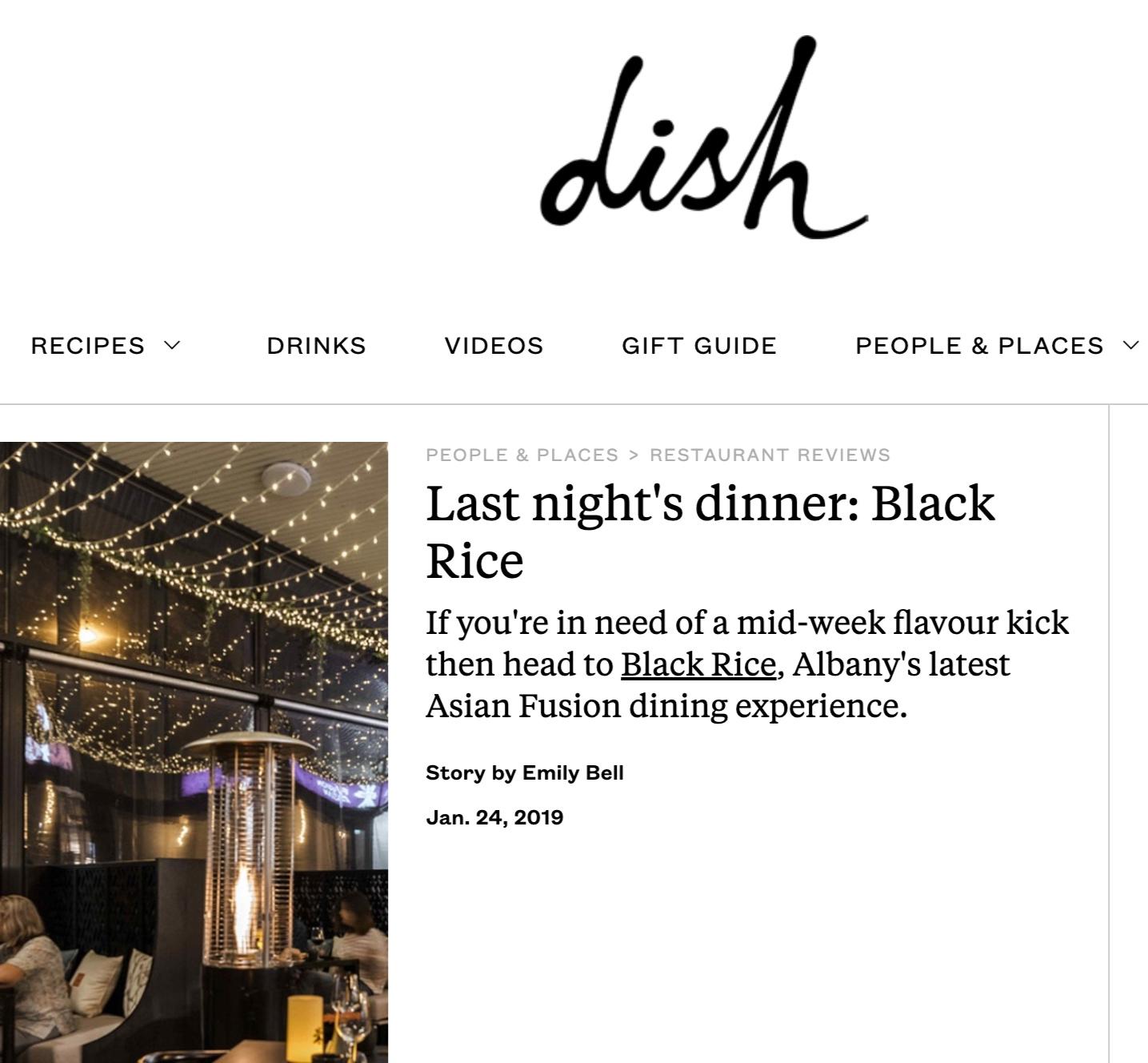 Dish Magazine review Black Rice