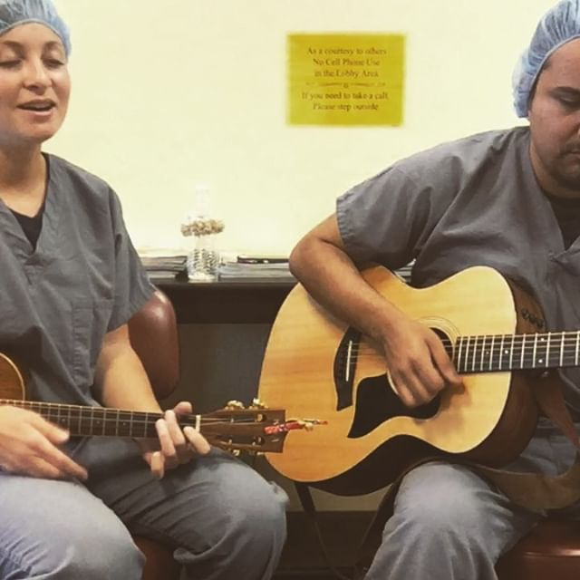 SINGIN' FOR A REASON 💙💙💙 - Had so much fun yesterday playing for patients, family and staff at the Carlsbad Surgery Center. Every year they host Saturday Surgery Day with Project Access San Diego. Yesterday staff volunteered and performed 8 surgeries for local San Diegans in need. To learn more about the amazing work they do you can check out https://championsforhealth.org/  Here' a video of @javier_ame2cua and I performing Can't Help Falling in Love by Elvis in the lobby of the surgery center. If you're wondering why we had to be dressed up in scrubs it's so that later we could go down to the recovery center and play for patients there ❤️ #singingforareason#championsforhealth#freesurgery#carlsbadsurgery#carlsbad#california#projectaccess#changinglives#sandiego#musicforapurpose#musicians#musiciansofinstagram#acoustic#acousticcover#elvispresley#guitar#ukulele#duo#acousticcovers