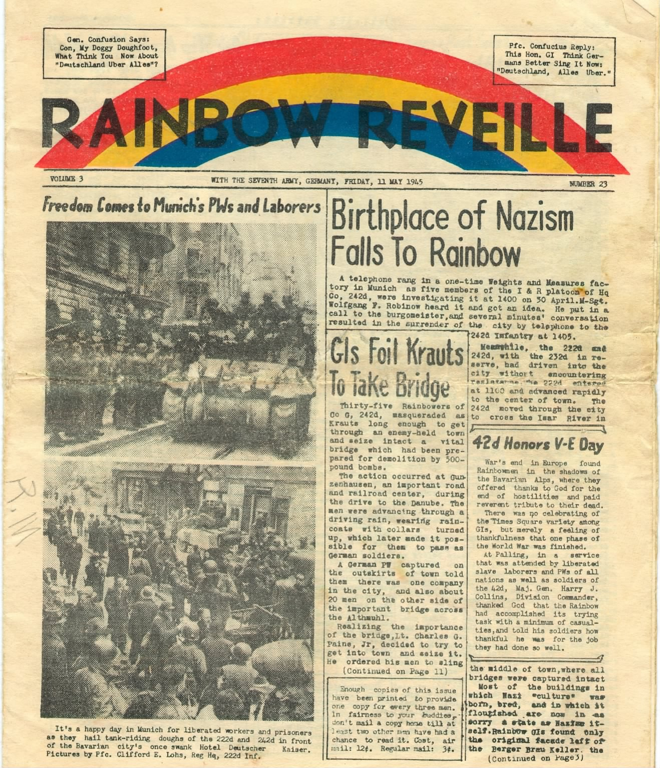 Rainbow Reveille - May 11, 1945, Story of 42_nd Rainbow Division Liberation of Dachau.jpg