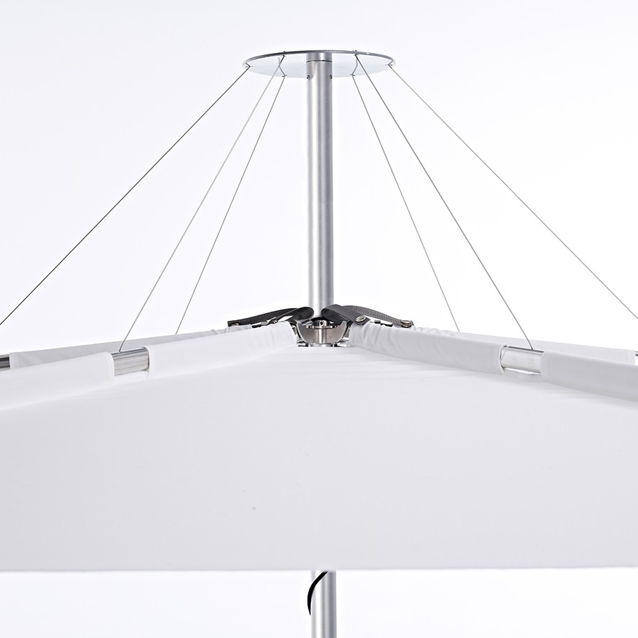 Mechanics  - -Designed & manufactured in Europe by Umbrosa.-Unique design featuring ribs on the topside of the canopy, hidden by full length fabric pockets.-Easy rope & cleat opening mechanism.-Rope hides away inside mast when umbrella is opened to maintain the clean and uncluttered look.-Aluminium frame means no rust, no paint to flake, no timber to weather and crack.-Quality canvas is UV and fade resistant.-Perfect match to contemporary outdoor furniture settings.