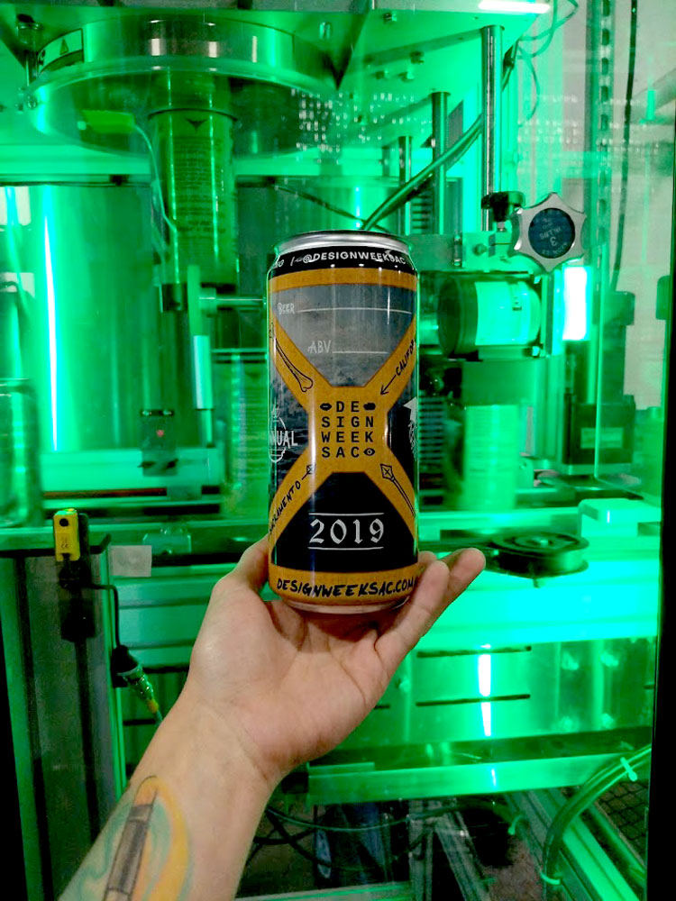 The official Design Week Sac 2019 promo crowlers! Freshly sleeved, ready for filling.
