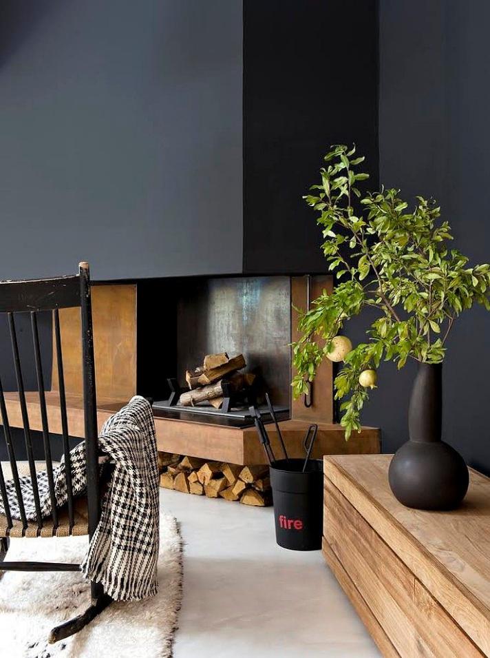 dark black fireplace ideas