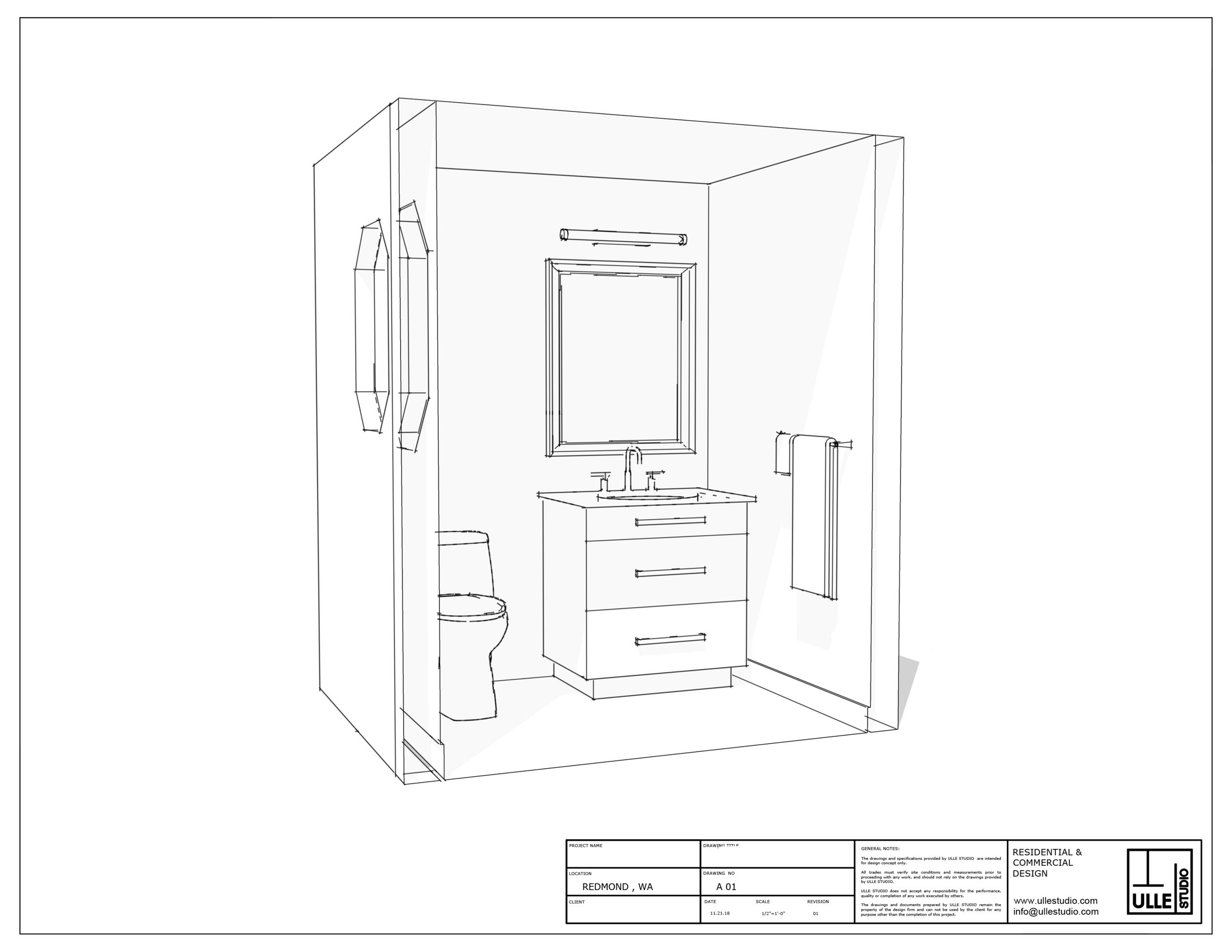 Powder room design Redmond WA