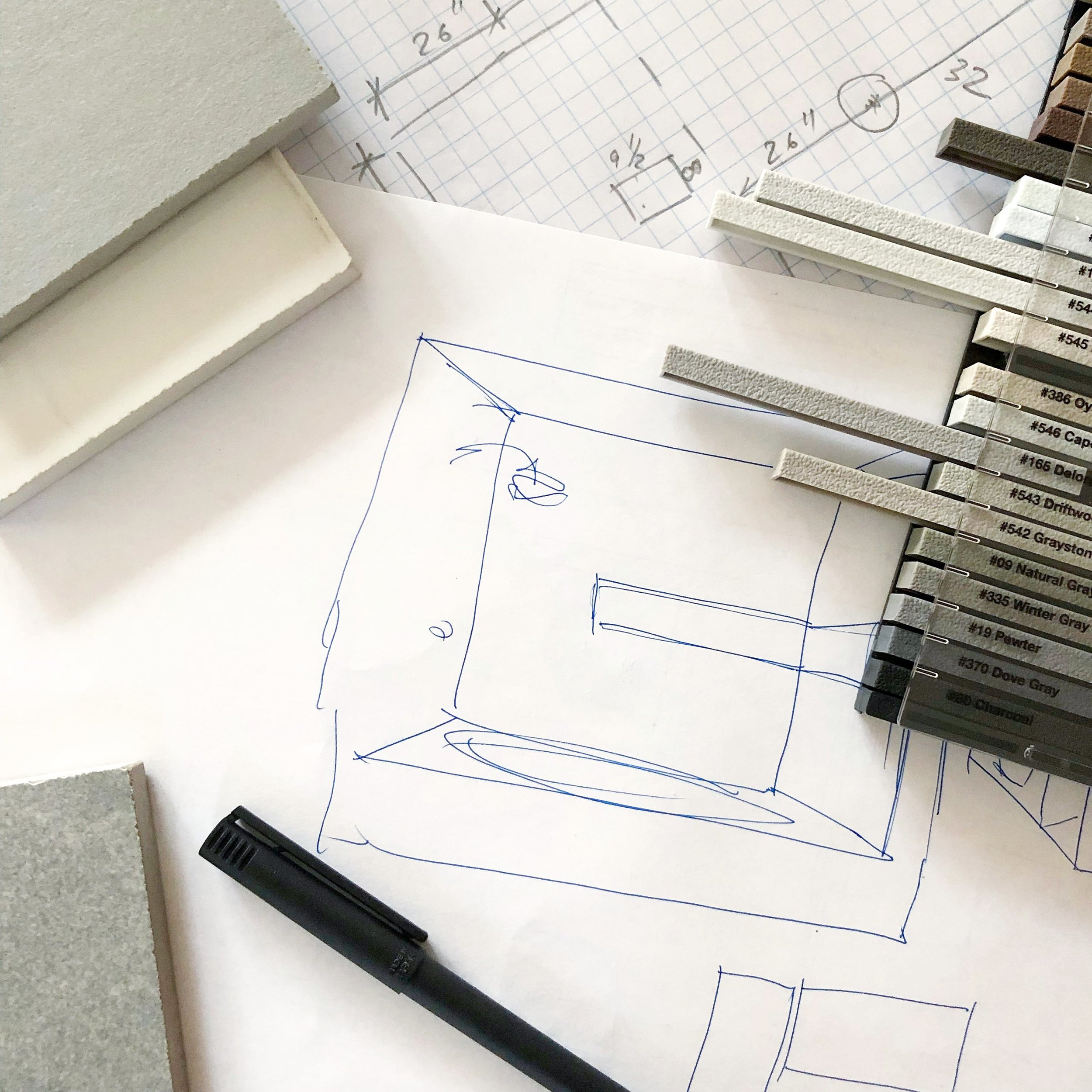 One of the many brainstorming sessions - this one was for a bathroom remodeling project