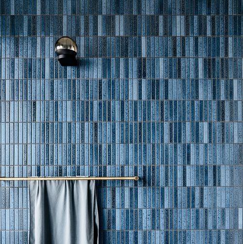 blue tile in bathroom