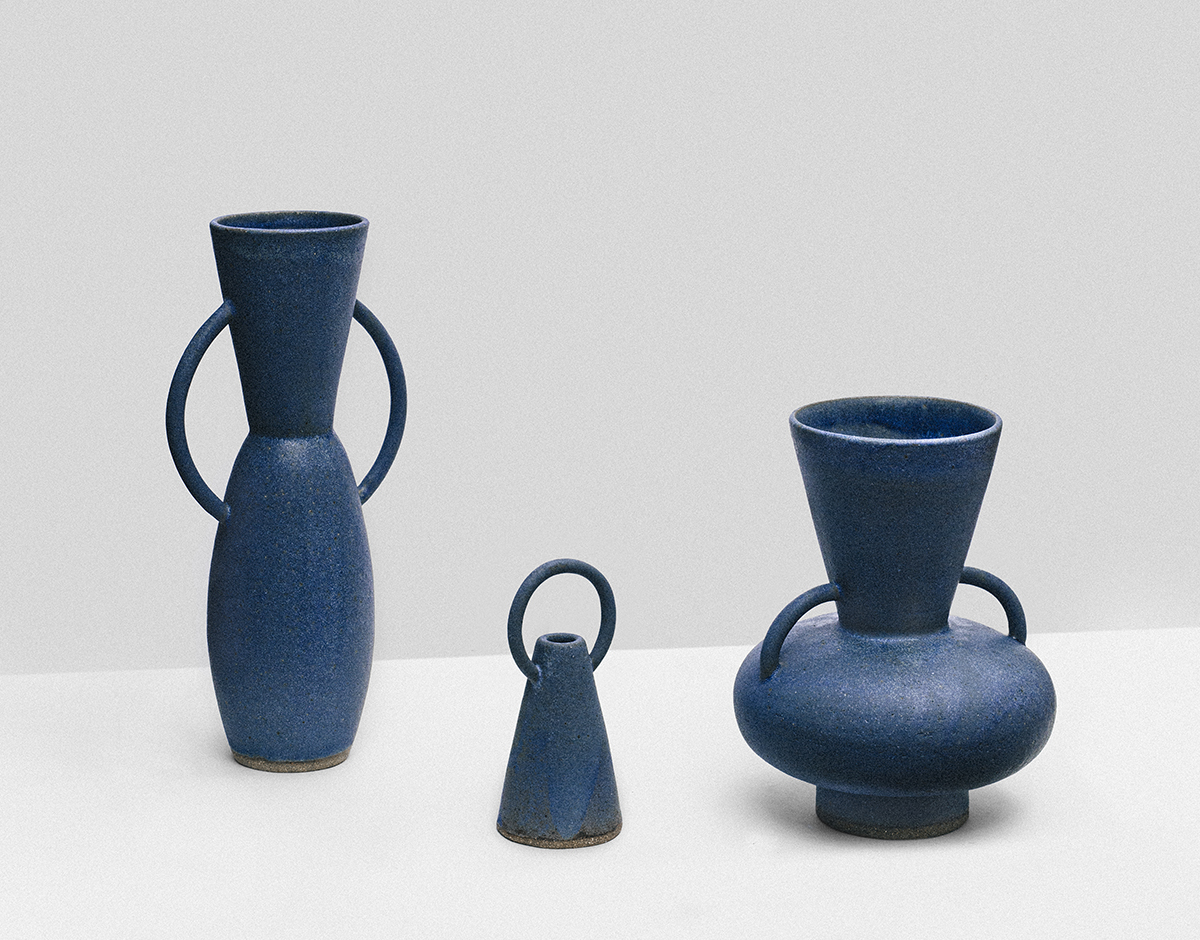 modern blue ceramic vases