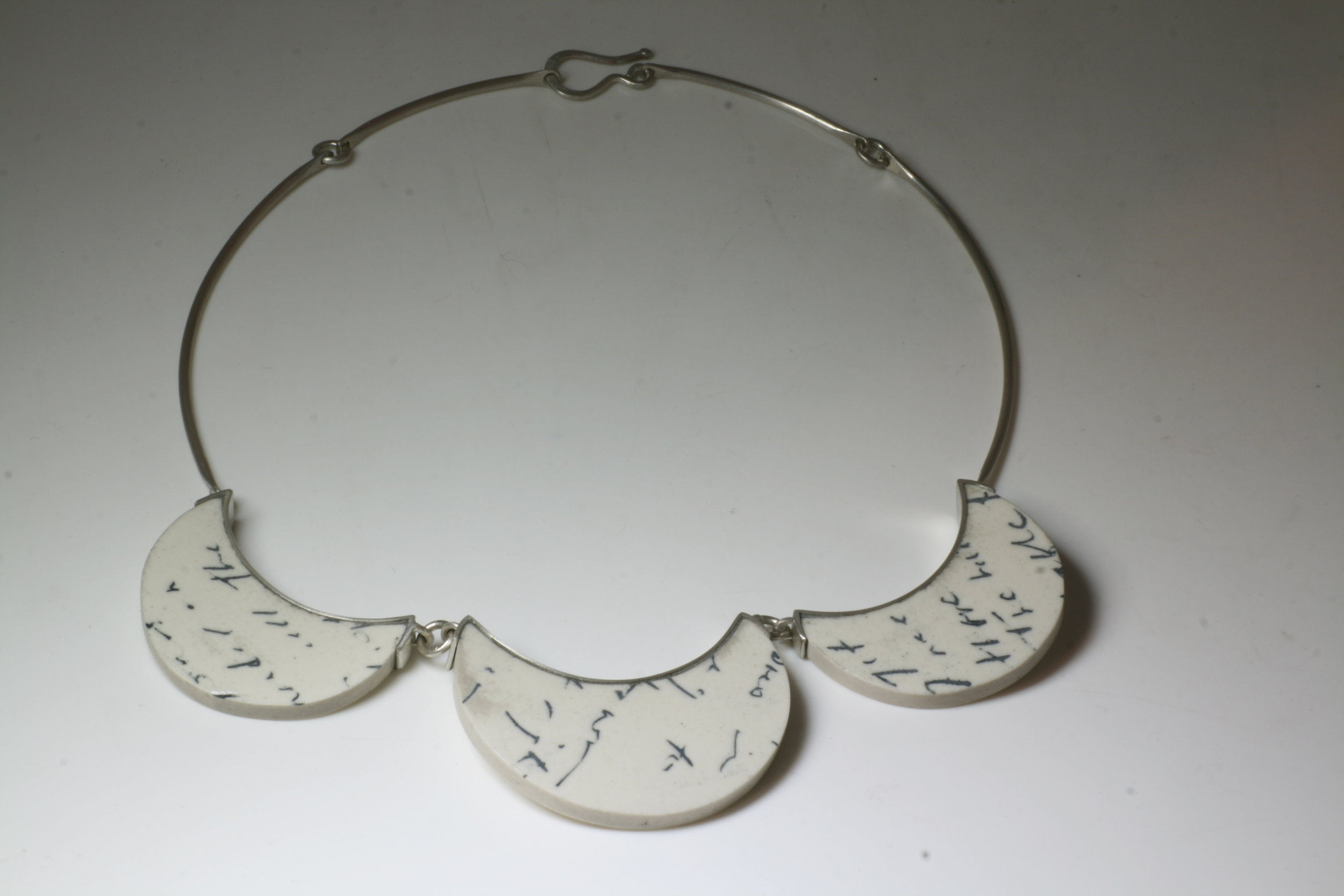 - Necklace made from broken Cheryl Lucas ceramics that Cheryl gifted to me after the Christchurch Earthquakes of 2011.Sterling Silver & Ceramic