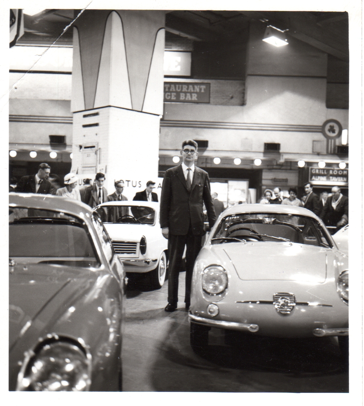Salesman, at the 1960 Earls Court Motor Show (with FIAT Abarth)