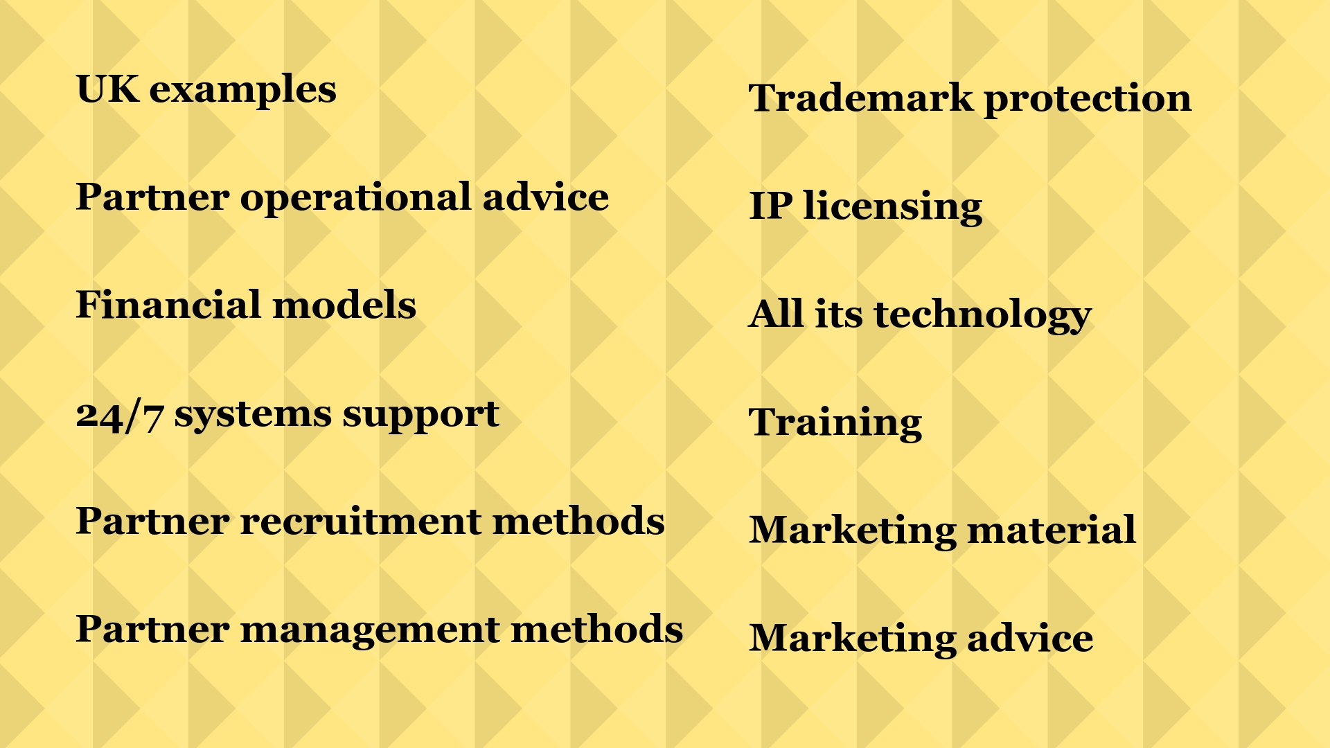 · Trademark protection · IP licensing · All its technology · Training · Marketing material · Marketing advice · UK examples · Partner operational advice · Financial models · 24_7 systems support · Partner recruitme.jpg