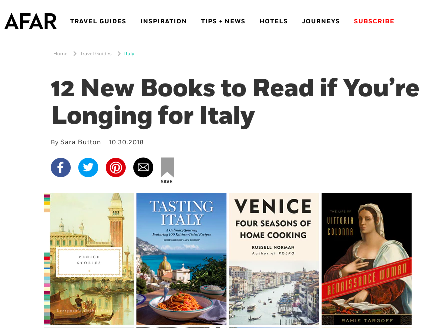 "Read: AFAR Magazine features Renaissance Woman as one of ""12 New Books to Read if You're Longing for Italy"" especially if you fancy yourself a ""historian at heart"""