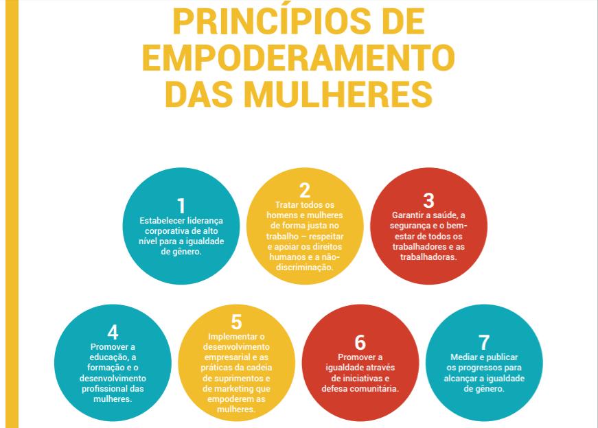 A ONU Mulheres listou sete princípios de empoderamento das mulheres para a equidade de gênero nas empresas. (Crédito: onumulheres.org.com)