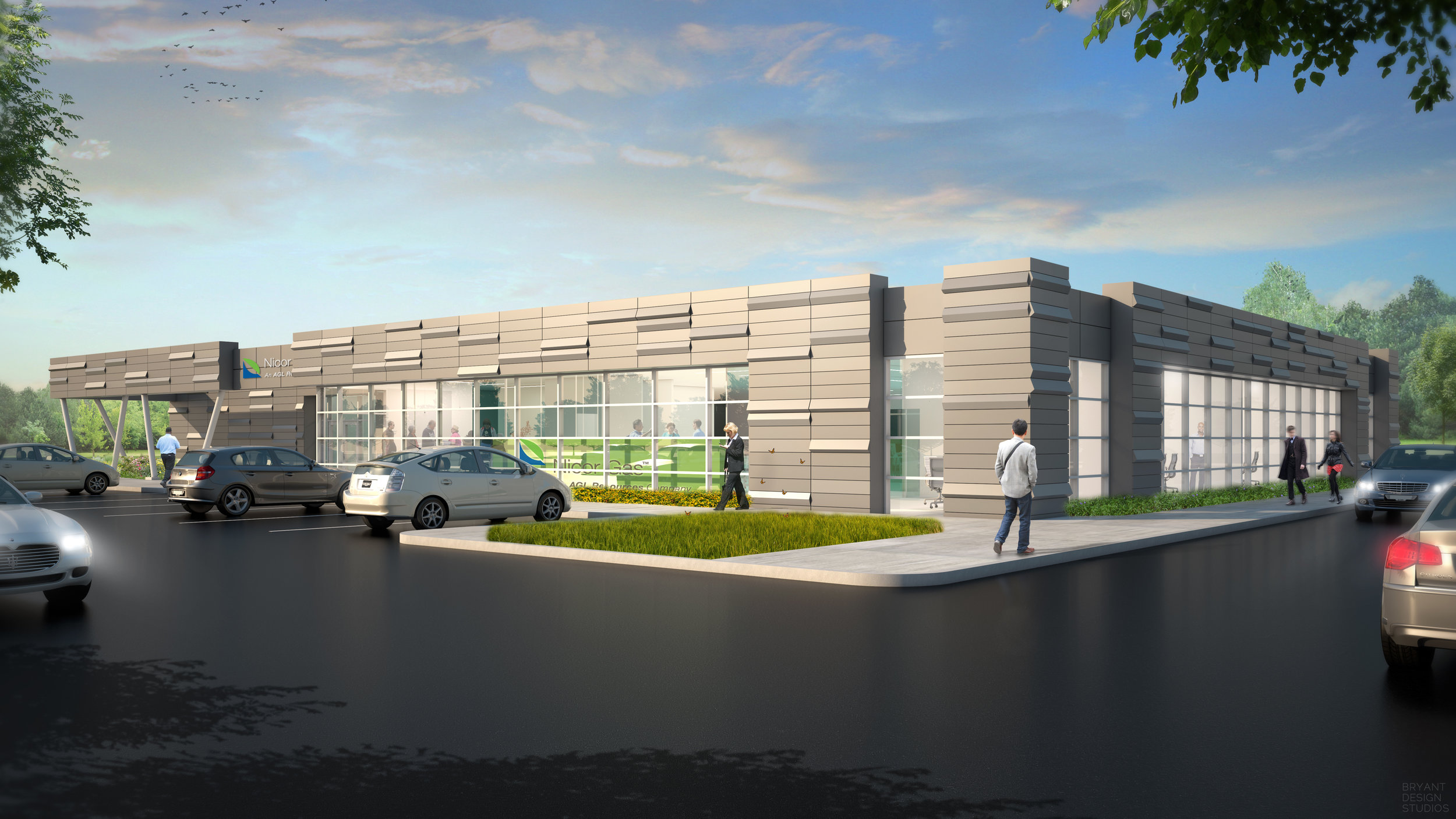 AGL Naperville - New 40,000 SF corporate office & training center. This new metal & glass building will serve as the signature building will serve as the signature building for the redevelopment of Nicor Gas Company's building redevelopment program.
