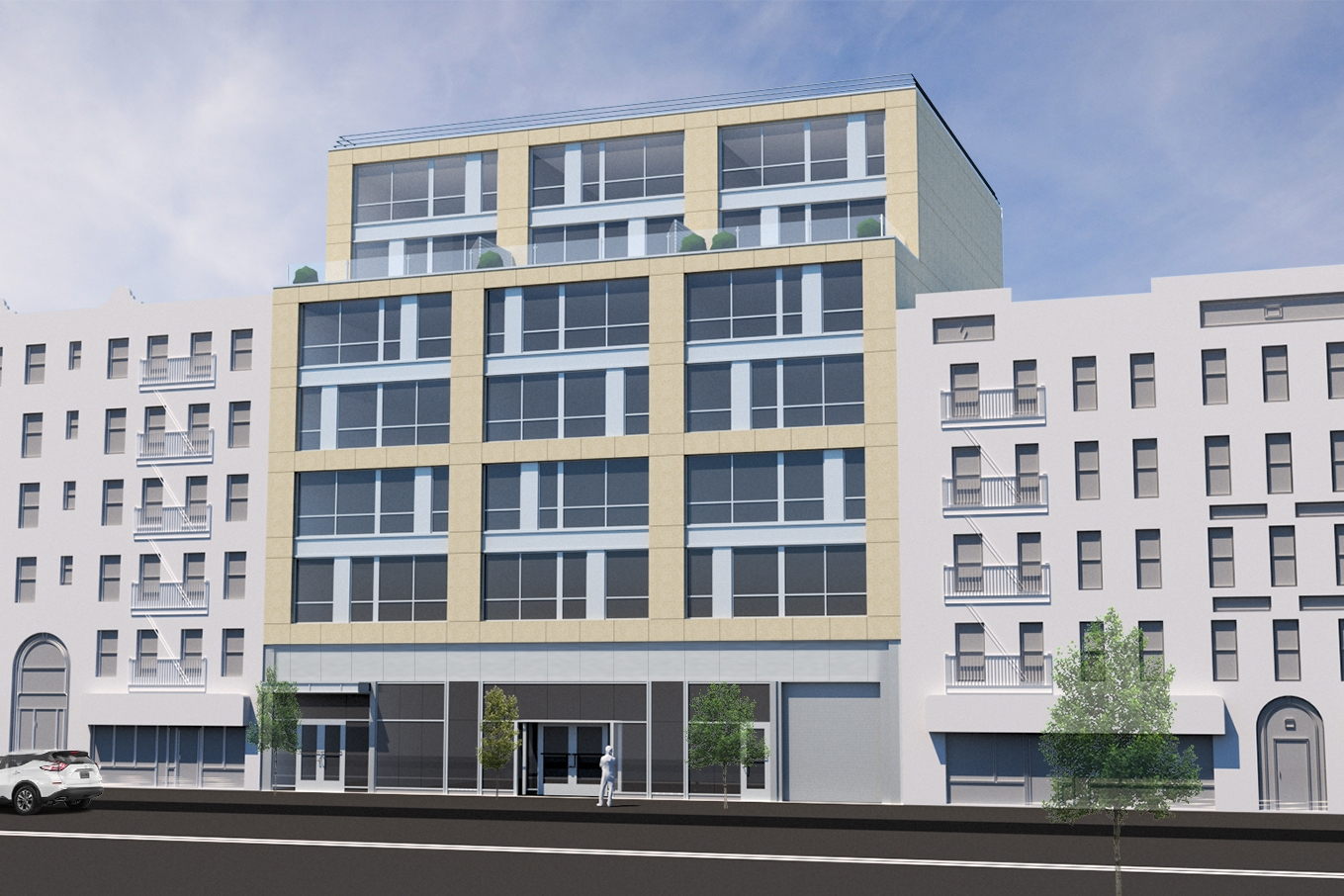 2043 Webster Avenue - 34,000 SF mixed-use development in the Bronx, NY. There are 36 units in this new building that includes retail on the ground floor, residential amenities and a community recreation space on top of the second floor roof.