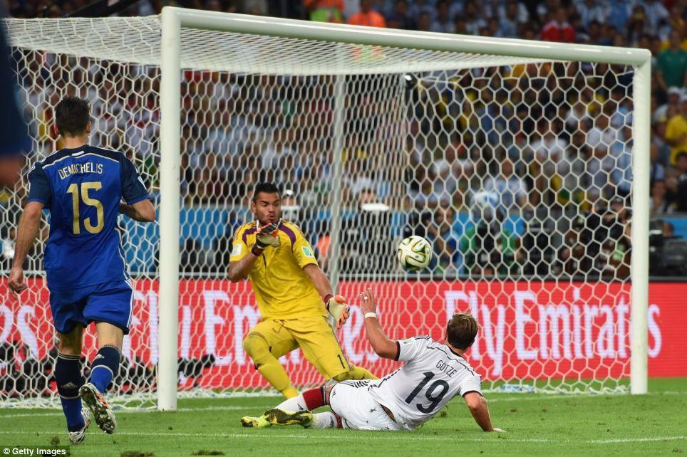 Ο Mario Gotze σκοράρει το νικητήριο γκολ στον τελικό του 2014