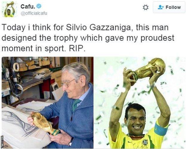 Tweet του Cafu για το θάνατο του Silvio Gazzaniga