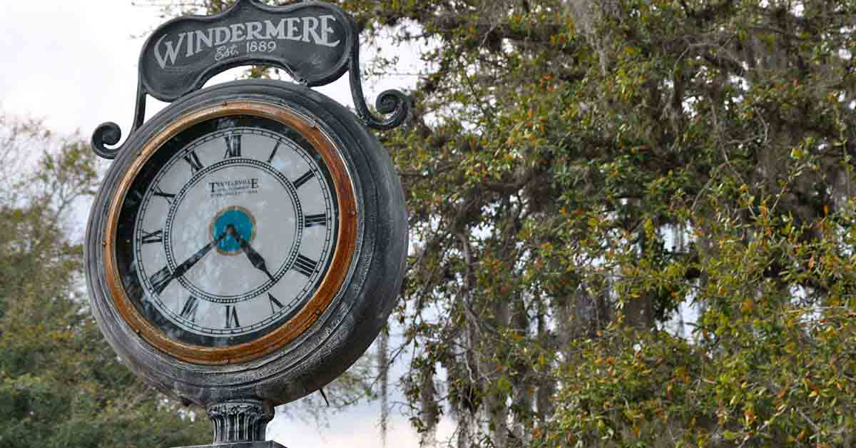 The Clock in Historic Downtown Windermere
